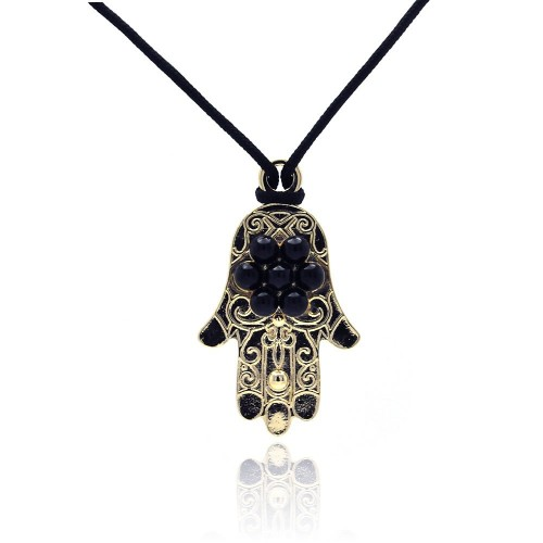 -Closeout- Wholesale Sterling Silver 925 Gold and Rhodium Plated Black Hamsa CZ Necklace - BGP00307
