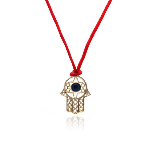 Wholesale Sterling Silver 925 Gold Plated Open Hamsa CZ Red Cord Necklace - BGP00308