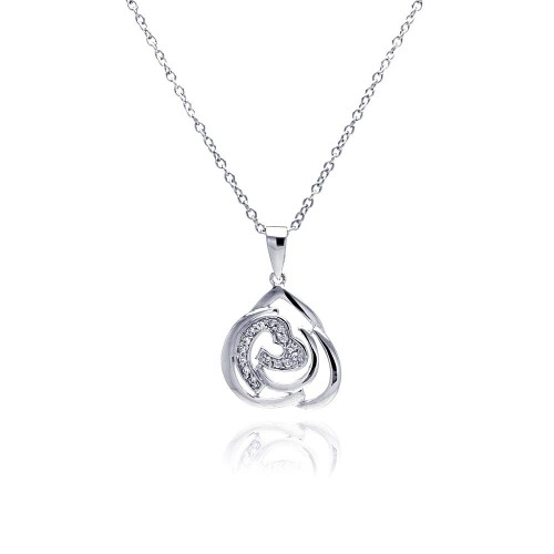 Wholesale Sterling Silver 925 Rhodium Plated Abstract Design Heart CZ Necklace - BGP00309