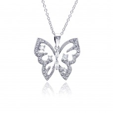 Sterling Silver Rhodium Plated Open Butterfly CZ Necklace - BGP00310