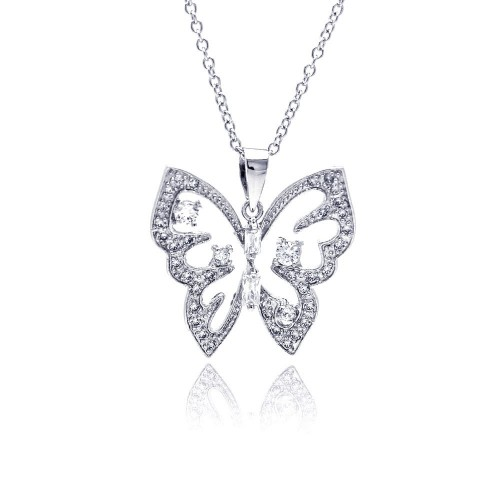 Wholesale Sterling Silver 925 Rhodium Plated Open Butterfly CZ Necklace - BGP00310