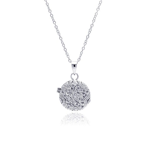 **Closeout** Wholesale Sterling Silver 925 Rhodium Plated Circle Start CZ Locket Necklace - BGP00311