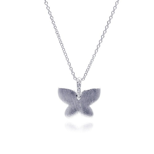 Wholesale Sterling Silver 925 Rhodium Plated Matte Finish Butterfly CZ Necklace - BGP00312