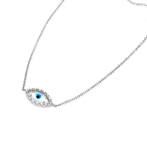Wholesale Sterling Silver 925 Rhodium Plated Evil Eye CZ Necklace - BGP00317