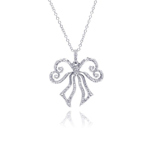 -Closeout-0 Wholesale Sterling Silver 925 Rhodium Plated Open Ribbon CZ Necklace - BGP00320