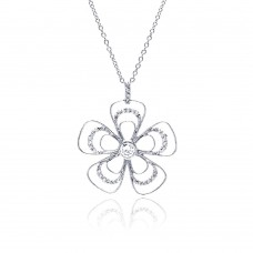 **Closeout** Wholesale Sterling Silver 925 Rhodium Plated Open Flower CZ Necklace - BGP00321