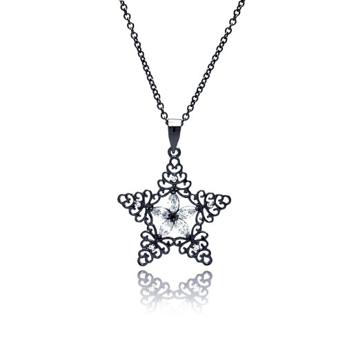 Wholesale Sterling Silver 925 Black Rhodium Plated Star CZ Necklace - BGP00322
