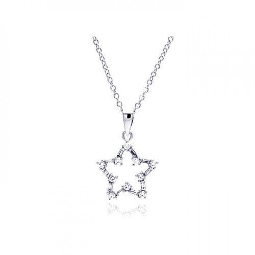 -Closeout- Wholesale Sterling Silver 925 Rhodium Plated Open Star CZ Necklace - BGP00324