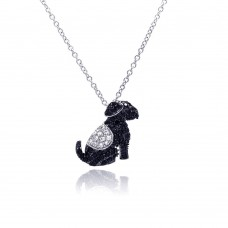 ***CLOSEOUT*** Sterling Silver Rhodium Plated Black Dog CZ Necklace - BGP00328