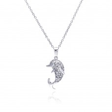 Sterling Silver Rhodium Plated Dolphin CZ Necklace - BGP00329