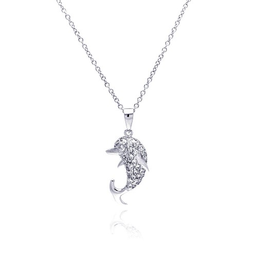 Wholesale Sterling Silver 925 Rhodium Plated Dolphin CZ Necklace - BGP00329
