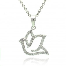 Sterling Silver Rhodium Plated Open Dove CZ Necklace - BGP00330