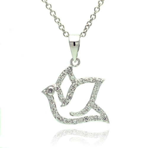 Wholesale Sterling Silver 925 Rhodium Plated Open Dove CZ Necklace - BGP00330