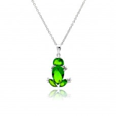Sterling Silver Rhodium Plated Green Frog CZ Necklace - BGP00332