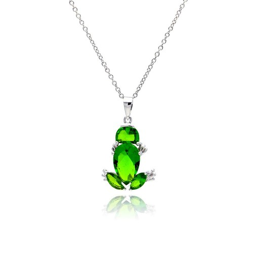Wholesale Sterling Silver 925 Rhodium Plated Green Frog CZ Necklace - BGP00332