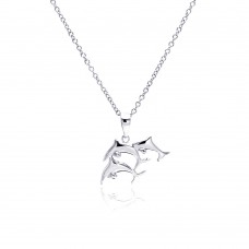 Sterling Silver Rhodium Plated Three Dolphin Necklace - BGP00333
