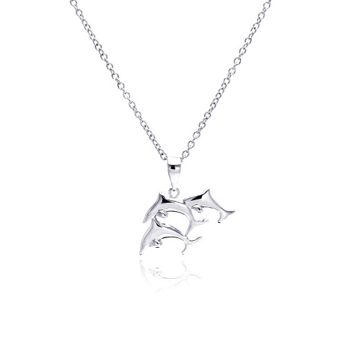 Wholesale Sterling Silver 925 Rhodium Plated Three Dolphin Necklace - BGP00333