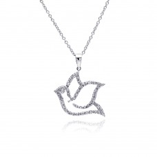 Sterling Silver Rhodium Plated Open Dove CZ Necklace - BGP00334