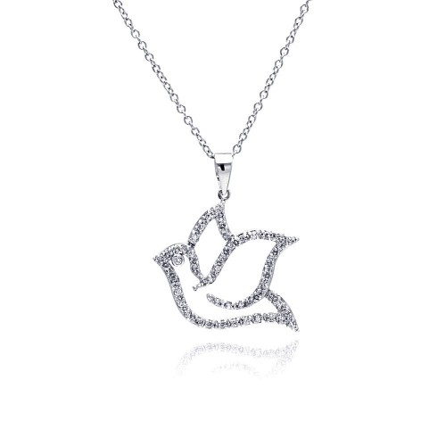 Wholesale Sterling Silver 925 Rhodium Plated Open Dove CZ Necklace - BGP00334