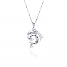 Sterling Silver Rhodium Plated Dolphin CZ Necklace - BGP00335