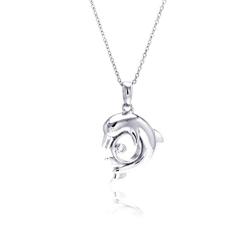 Wholesale Sterling Silver 925 Rhodium Plated Dolphin CZ Necklace - BGP00335