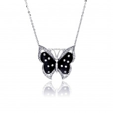 Sterling Silver Rhodium Plated Black MOP Butterfly CZ Necklace - BGP00337
