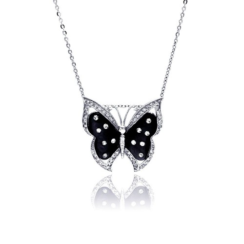 Wholesale Sterling Silver 925 Rhodium Plated Black Mother of Pearl Butterfly CZ Necklace - BGP00337