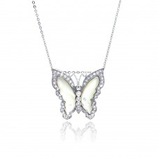 Sterling Silver Rhodium Plated MOP Butterfly CZ White Enamel Inlay Necklace - BGP00338