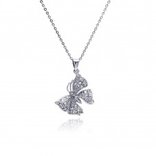 Sterling Silver Rhodium Plated Butterfly CZ Necklace - BGP00339