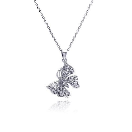Wholesale Sterling Silver 925 Rhodium Plated Butterfly CZ Necklace - BGP00339