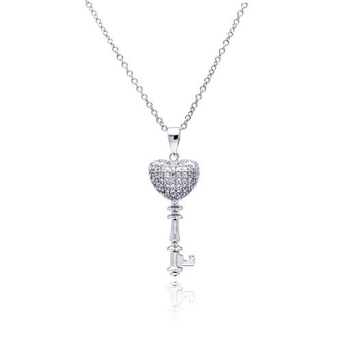 Wholesale Sterling Silver 925 Rhodium Plated Heart Key CZ Necklace - BGP00366