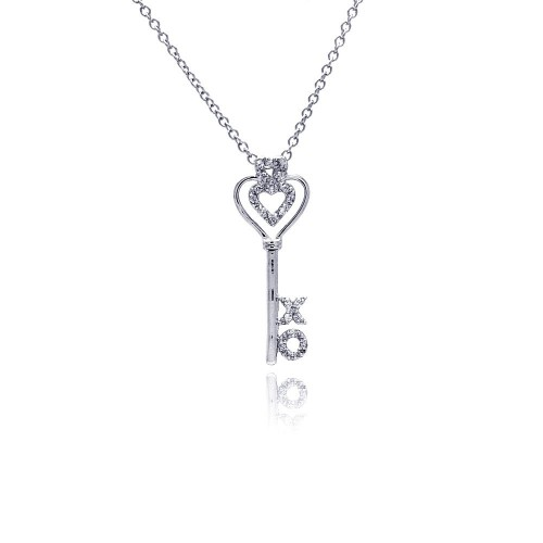 Wholesale Sterling Silver 925 Rhodium Plated X O Open Heart CZ Necklace - BGP00367