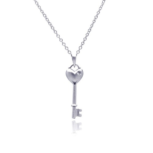 Wholesale Sterling Silver 925 Rhodium Plated Heart Key CZ Necklace - BGP00369
