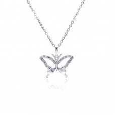 Sterling Silver Rhodium Plated Open Butterfly CZ Necklace - BGP00370