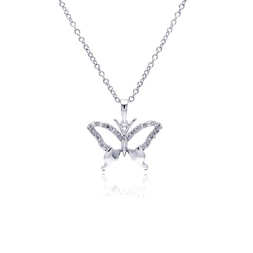 Wholesale Sterling Silver 925 Rhodium Plated Open Butterfly CZ Necklace - BGP00370