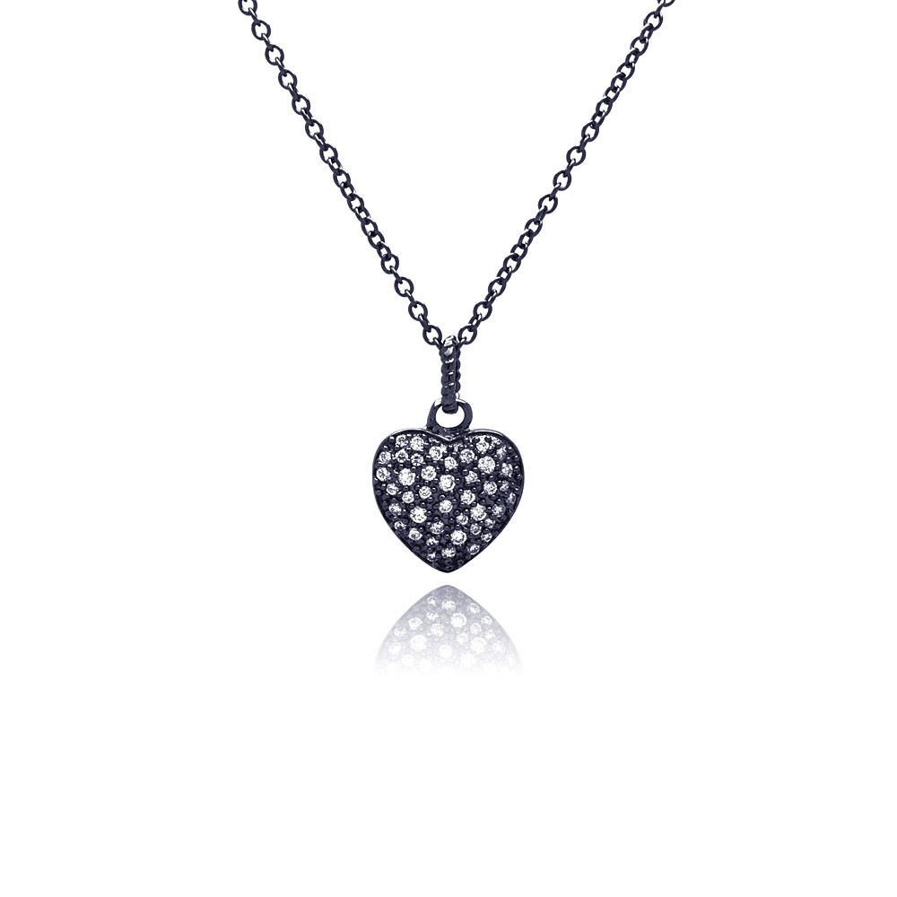 Wholesale Sterling Silver 925 Black Rhodium Plated Heart CZ Necklace - BGP00371