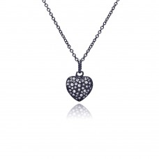 Sterling Silver Black Rhodium Plated Heart CZ Necklace - BGP00371