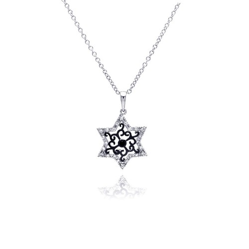Wholesale Sterling Silver 925 Rhodium Plated Open Star Black Filigree CZ Necklace - BGP00373