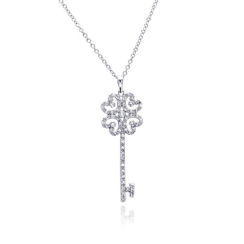 Wholesale Sterling Silver 925 Rhodium Plated Open Heart Key CZ Necklace - BGP00375