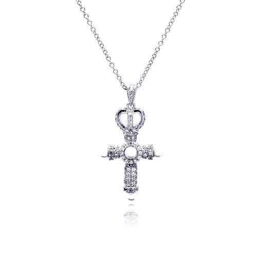 Wholesale Sterling Silver 925 Rhodium Plated Cross Crown CZ Center Pearl Necklace - BGP00377