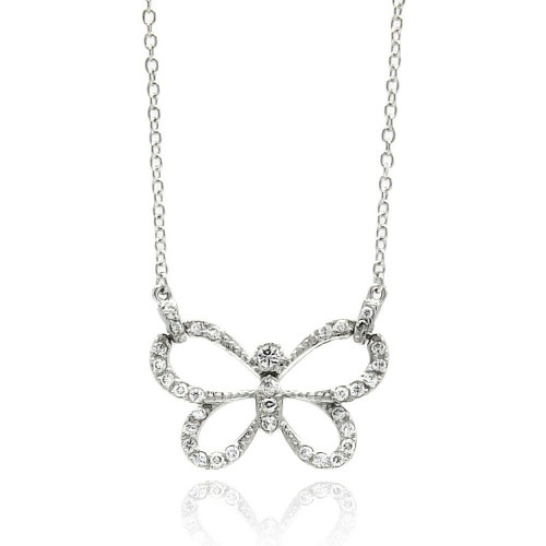 Wholesale Sterling Silver 925 Rhodium Plated Open Butterfly CZ Necklace - BGP00427