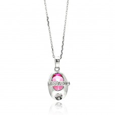 Sterling Silver Rhodium Plated Baby Shoe Pink CZ Necklace - BGP00442