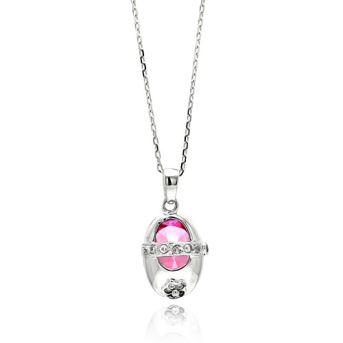 Wholesale Sterling Silver 925 Rhodium Plated Baby Shoe Pink CZ Necklace - BGP00442
