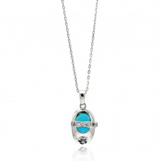 Sterling Silver Rhodium Plated Baby Shoe Blue CZ Necklace - BGP00444