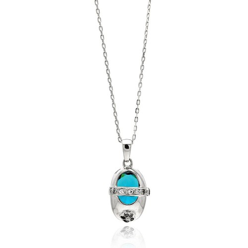 Wholesale Sterling Silver 925 Rhodium Plated Baby Shoe Blue CZ Necklace - BGP00444