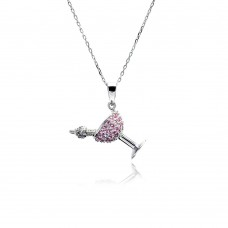 Sterling Silver Gold Plated MOP Flower CZ Necklace - BGP00445