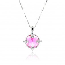 Wholesale Sterling Silver 925 Rhodium Plated Pink Round CZ Necklace - BGP00447