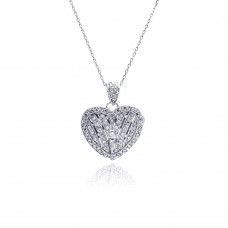 Sterling Silver Rhodium Plated Heart Locket CZ Necklace - BGP00448