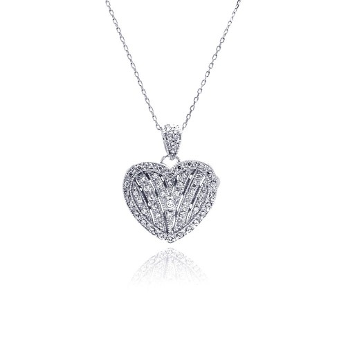 Wholesale Sterling Silver 925 Rhodium Plated Heart Locket CZ Necklace - BGP00448