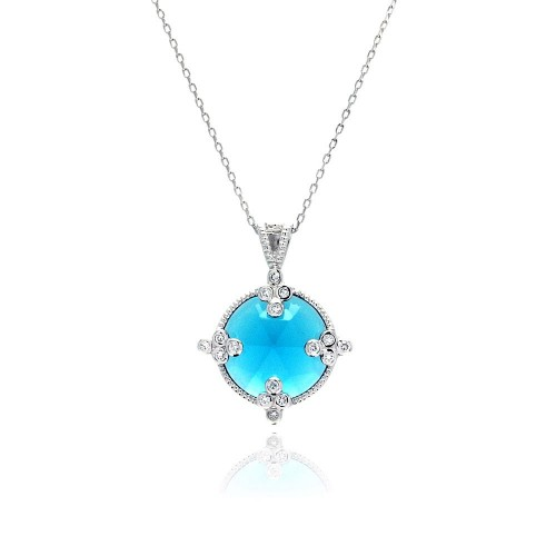 Wholesale Sterling Silver 925 Rhodium Plated Round Blue CZ Necklace - BGP00449